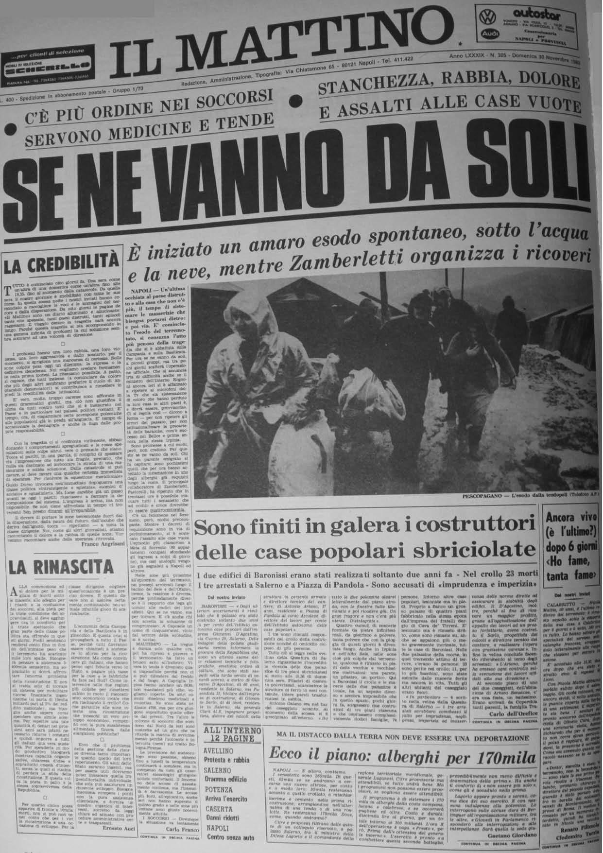 Il Mattino, 30.11.1980