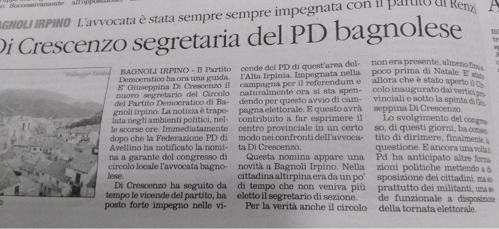 Il-Quotidiano-Di-Cresenzo-Segretario-PD-Bagnoli-08.01.2018